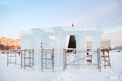 Construction of sculpture with columns in Ice town Stock Photos