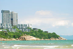 Construction and sea. West the Chinese Guangdong Shenzhen flushes the seashore resort, the sea and the building complements Royalty Free Stock Image