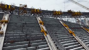 Construction of seats in the stadium