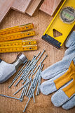 Construction set of tools on wooden board Stock Photo