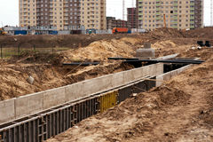 The construction of the sewer. In the new neighborhood royalty free stock photo