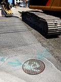 Construction on Sewer and Roadway Stock Photos