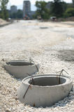 Construction of sewerage. And road Stock Photo