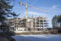 The construction of the shopping center. DOMODEDOVO.RUSSIA-11 December 2015: Construction of the shopping center Domodedovo on the street Korneev Stock Images