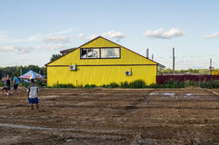 The construction of a shopping center in the Kaluga region of Russia. Royalty Free Stock Photos