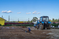 The construction of a shopping center in the Kaluga region of Russia. Stock Photos