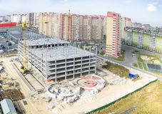 Construction of shopping center in Tyumen Royalty Free Stock Images