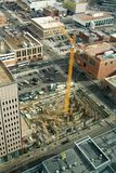 Construction Side. Aerial view of a construction site with crane stock photos