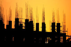Construction side during the sunset Royalty Free Stock Image