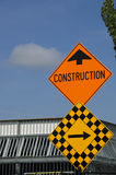 Construction sign. Construction area sign; please turn right Royalty Free Stock Image