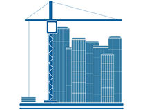 Construction sign. Blue construction sign with crane and skyscraper Stock Photography