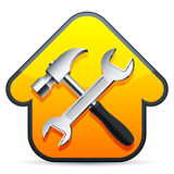 Construction sign. Hammer and wrench over construction sign Royalty Free Stock Image