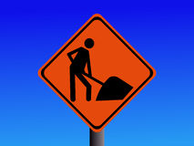 Construction sign. American warning construction sign worker with spade Royalty Free Stock Photo
