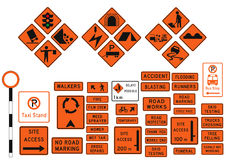 Construction Sign. A collection of 45 Construction and warning road sign Royalty Free Stock Image