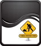 Construction sign on black checkered wave backdrop Stock Images