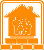 Construction sign with bricks house and family Stock Photo