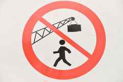 Construction sign on building site. forbidden things on a site Stock Image