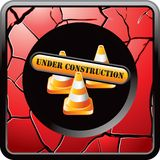 Construction sign and cones on red cracked icon Royalty Free Stock Photography
