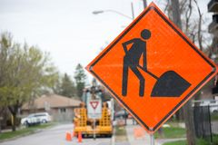 Construction sign in a construction site in city Stock Image