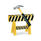 Construction sign and hammer isolated Stock Photography