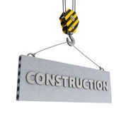 Construction sign and hook Stock Image