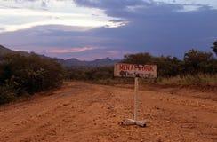 A construction sign, Karamoja, Uganda Stock Images