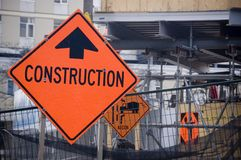 Construction sign on  site Royalty Free Stock Photography