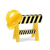 Construction sign and worker's hard hat Stock Image