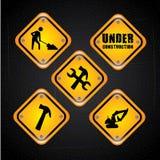 Construction signals. Design over black background vector illustration Stock Photo