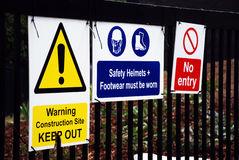 Construction Signs. A photograph of signs typically on display at a UK construction site Stock Photography