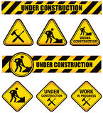 Construction Signs. A set of signs for under construction work in progress Stock Illustration