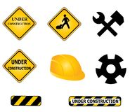 Construction signs and tools Stock Photo