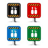 Construction signs on white. Color under construction signs on white Royalty Free Stock Photo