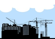 Construction silhouette Royalty Free Stock Photo