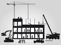 Construction silhouette. Black and white silhouette of people and equipment at a construction site Royalty Free Stock Photography