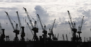 Construction silhouette of cranes Royalty Free Stock Photo