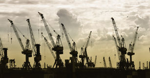 Construction silhouette of cranes Stock Photo