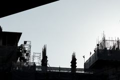 Construction, silhouette, fond Images stock