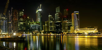 Construction by Singapore River Skyline at Night Royalty Free Stock Photo