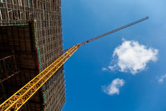Construction Site. With crane, copyspace Royalty Free Stock Images