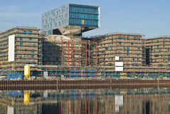 Construction site. Of a new hotel building (NH-hoteles) in Berlin, reflecting in the River Spree Royalty Free Stock Image