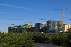 Construction site. With yellow cranes over blue sky behind green park Royalty Free Stock Photos