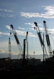 Construction Site. Showing crane in the morning hour Stock Photography