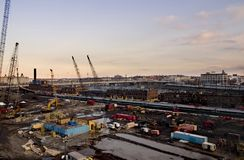 Construction site. At evening before sunset stock photography