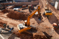 Construction Site. With yellow tractors Stock Images