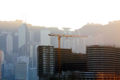 Construction Site. And Modern Buildings in Hong Kong Stock Photos