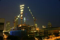 Construction site. In Singapore taken by night with long shutter aperture (about 15 seconds Royalty Free Stock Photos