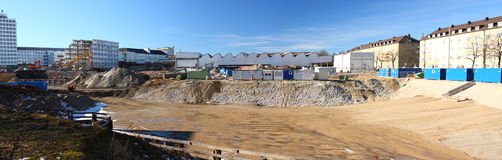 Construction site. Large panorama of construction site in the city Stock Photos