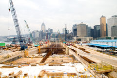 Construction Site. The large construction site in Hong Kong City Royalty Free Stock Image