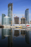Construction site. Construction of modern buildings in Moscow (Russia Stock Photos